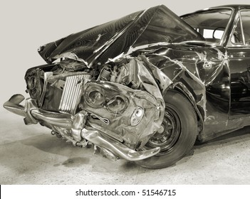 Forward part of the car after crash.