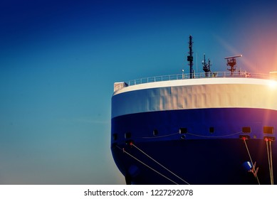 Forward ship with rope, forecastle deck with communication with antenna, Auto car carrier ship, designed for transportation of cars
