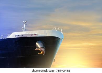 forward vessel on sunset background