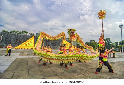 FOSHAN, CHINA - August 25, 2017:The women's dance team performs in the park, and the city of foshan is the base of the dragon dance, and many citizens like to dance dragon dance.