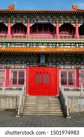 Foshan city, China. Front door of the palace in chinese traditional style.