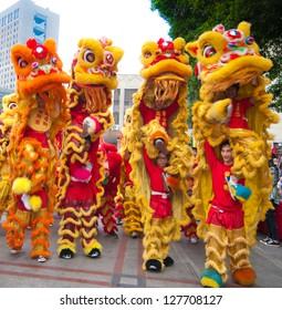 FOSHAN CITY, CHINA - JANUARY 31: Chinese New Year Lion Dance on January 31, 2013 in Foshan, China