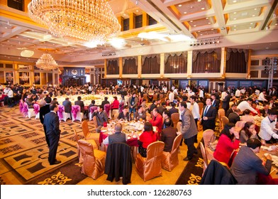 FOSHAN CITY-JANUARY 20: Foshan city hall held to celebrate Chinese New Year dinner at the hotel in 2013, more than 1000 of the industry people attended the banquet January 20, 2012 in Foshan, China