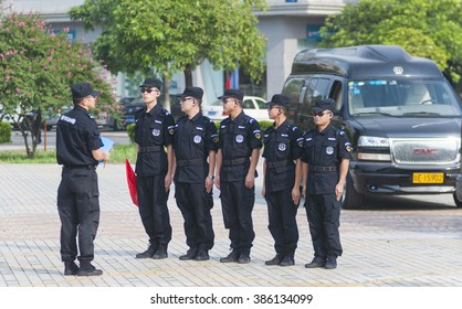 FOSHAN â?? July 12:Pearl group co., LTD. Security guards in training, Chinese soldiers after retirement, most security work to the company, this is their final destination July 12, 2015 in Foshan, China