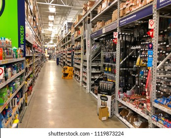 FOSLOM, CA, USA - JUL 21, 2018: Lowes warehouse interior store aisles.