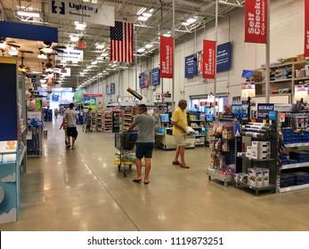 FOSLOM, CA, USA - JUL 21, 2018: Lowes warehouse interior store aisles.