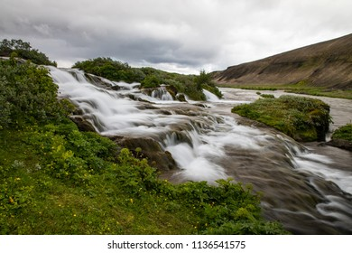 Fossabrekkur Falls in the Highlands of Iceland