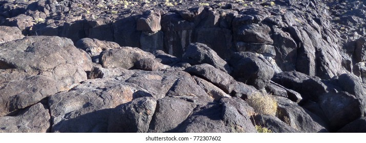 Fossil Falls, a volcanic geological feature in the California desert