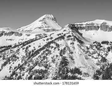 Fossil Mountain in winter, monochrome.  Near Jackson Hole Wyoming.