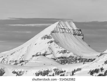 Fossil mountain winter scene shot from atop Jackson Hole Mountain resort.