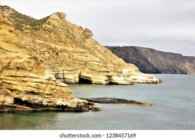 Fossils of tertiary sediments, sandstones, calcarenites and limestones of Tortonian algae, reef limestones of the Mesinian, in the Playazo de Rodalquilar, Natural Park of Cabo de Gata, Almería, spain,