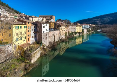 Fossombrone (Italy), a town with river bridge in Marche region