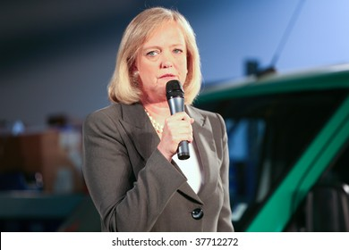 FOSTER CITY, CA - SEPT 25: Meg Whitman gives a speech during her campaign for California governor 2010 election at SolarCity warehouse, September 25, 2009, Foster City, CA