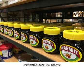 FOSTER CITY, CA/USA - MARCH 22, 2018: Jars of Marmite for sell at retail store. Currently produced by Unilever, Marmite is made from yeast extract, a by-product of beer brewing.
