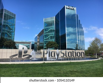 FOSTER CITY, CA/USA - MARCH 22, 2018: Entrance to Sony PlayStation USA Headquarters in Foster City, California. PlayStation is a gaming brand and was the first video game console to ship 100 million u