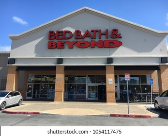 FOSTER CITY, CA/USA - MARCH 22, 2018: Bed Bath and Beyond store exterior. Bed Bath and Beyond, Inc., is an American chain of domestic merchandise retail stores in the United States, Puerto Rico, Canad