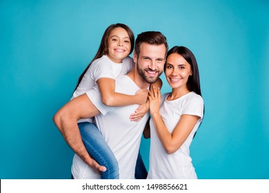 Foster family spending sunny weekend playing outdoor games wear casual outfit isolated blue background