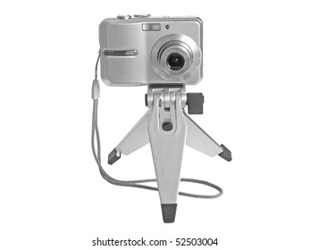 fotocamera on stand  on white background