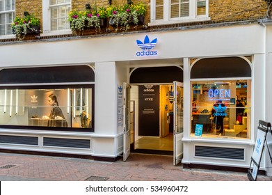FOUBERT'S PLACE, LONDON - OCTOBER 26: The shop front of Adidas Originals store. On Foubert's Place, off Carnaby Street, London, England on 26th October 2015.