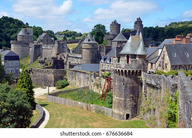 FOUGERES, FRANCE - JUNE 26, 2017: Chateau de Fougeres is a medieval castle that has a large fortress occupying an area of 2 hectares.