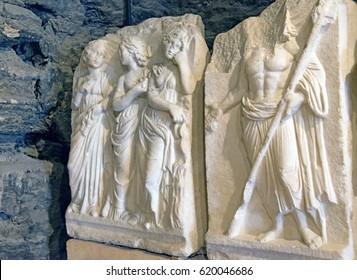 Found statues in ancient Hierapolis in Denizli,Turkey