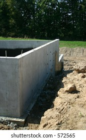Foundation to an attached garage of a new home.