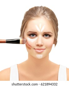 Foundation and a concealer  . Contouring.Make up woman face