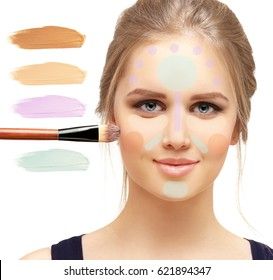 Сoverage foundation and  concealer  . Contouring.Make up woman face.