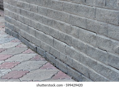 Foundation Cracks Repair - Warning Signs. House foundation repair. Cracked Foundation Repair. Broken Foundation House Brick Wall.