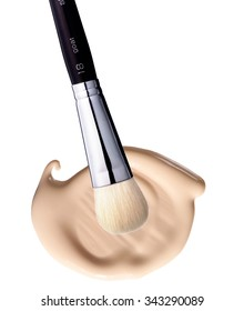 foundation cream and brush