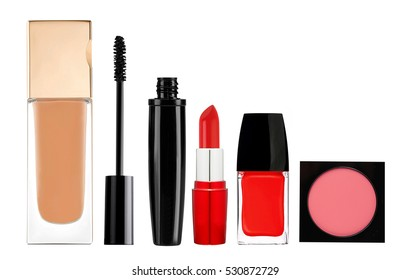 foundation, mascara, lipstick, blush and nail polish isolated on white background