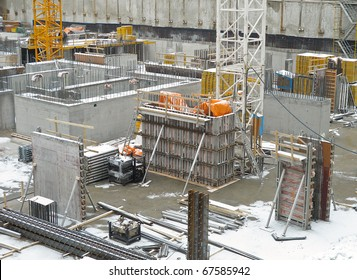 Foundation for new Condo Tower in winter