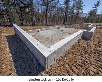 Foundation to new house construction in the suburbs