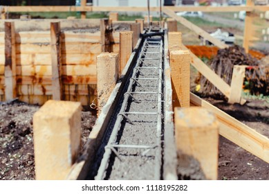 Foundation site of new building - construction industry details, cement and concrete building