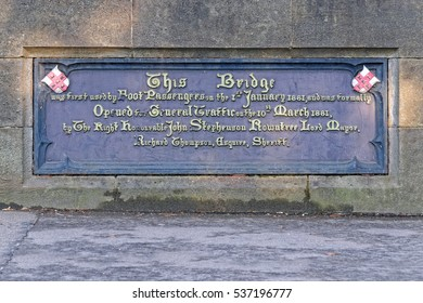 Foundation Stone of a historical bridge build in 1881, York, UK
