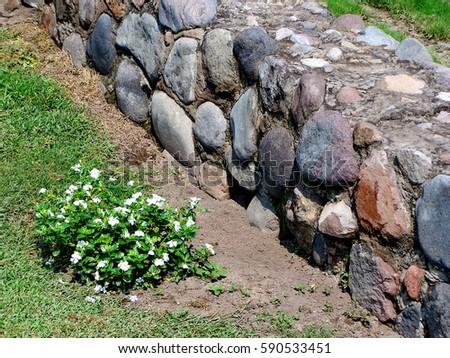 Foundation Wall Pre Colombian Pyramid Ruins Near Stock Photo (Edit