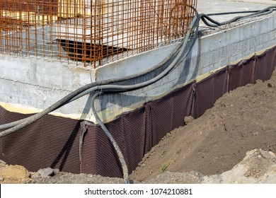 Foundation waterproofing with membrane solution. Concrete waterproofing membrane for underground basement walls.