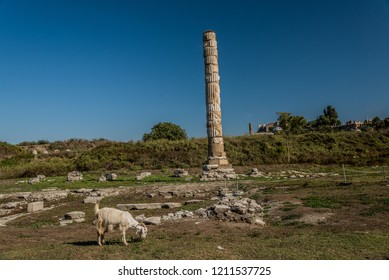 Foundations and Fragments of the Temple of Artemis, Selçuk, Turkey. It is one of seven wonders of the ancient world.