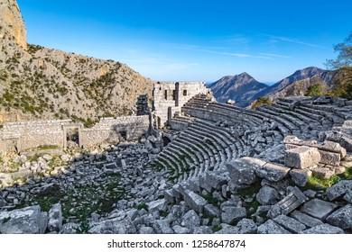 It was founded on a natural platform on the top Termessos Ancient City of Gulluk Mountain, soaring to a height of 1,665 meters from among the surrounding travertine mountains of Antalya.