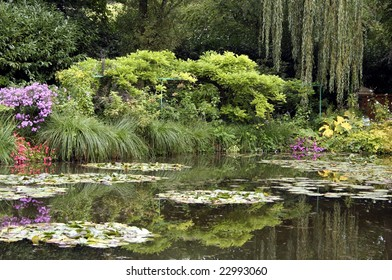 Founder of French impressionist painting, Claude Monet's famous lily pond at his home in Giverny, France