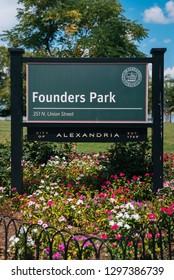 Founders Park sign, in Alexandria, Virginia