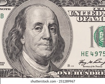 Founding father Benjamin Franklin portrait closeup on US 100 dollar bill, united states money