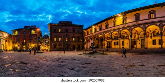 Foundling Hospital defines eastern side of Piazza Santissima Annunziata, other two principal facades of which were built later to imitate Brunelleschiâ??s loggia. Florence, Italy