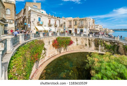 The Fountain of Arethusa and Siracusa (Syracuse) in a sunny summer day. Sicily, Italy.