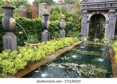 fountain at Arundel castle garden, England