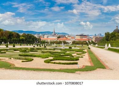 Fountain and Belvedere garden in Vienna, Austria in a beautiful summer day