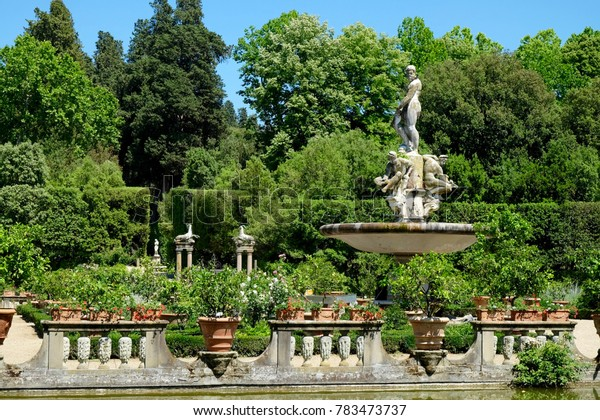A fountain in Boboli Gardens in Florence, Italy shows the age of the garden.