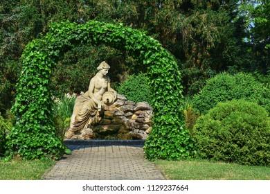 Fountain. Border Chateau. Lednice. South Moravia. Czech Republic. Europe.
