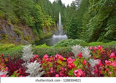 Fountain at Butchart Gardens Victoria, BC, Canada