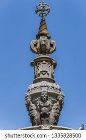 Fountain of Campo das Hortas (Chafariz do Campo das Hortas, 1594) - fountain located in the centre of garden space fronting the Arco da Porta Nova in Braga. Portugal.